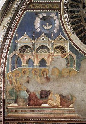 Pinksteren / Giotto di Bondone. Fresco uit 1290