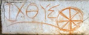 Ichthus teken op drempel in huis Efeze