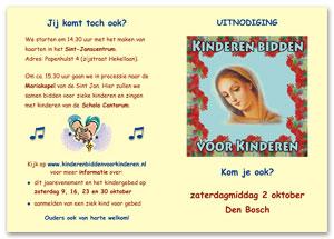 Uitnodiging Kinderen bidden voor kinderen 2 oktober 2010 Den Bosch