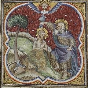 Middeleeuwse afbeelding van Jezus die door Johannes wordt gedoopt