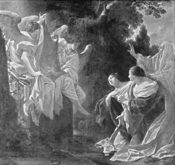 Schilderij Simon Vouet. Engelen tonen windselen aan de vrouwen
