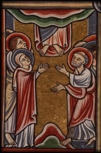 Miniatuur uit 1190/1200 Alleen de voeten van Jezus zijn nog zichtbaar