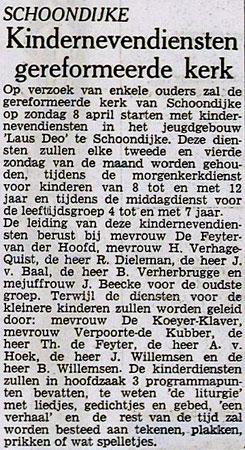 Krantenartikel vertelt start kindernevendienst in Schoondijke, 22 maart 1973 in PZC