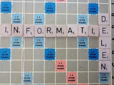 Informatie delen : woord gevormd met scrabble letters