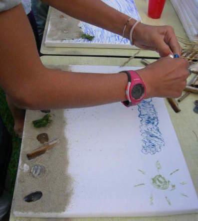 Workshop schilderij maken met dingen die je vindt op het strand