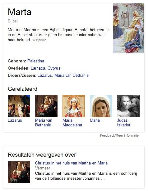 Kenniskaart Maria Marta. Google presenteert uit verschillende bronnen