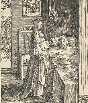 Izebel probeert Koning Achab op te beuren. Lucas van Leyden, 1515-1519