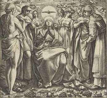 Maria en zeven bijbelse moeders, Hendrick Goltzius, 1576 - 1580