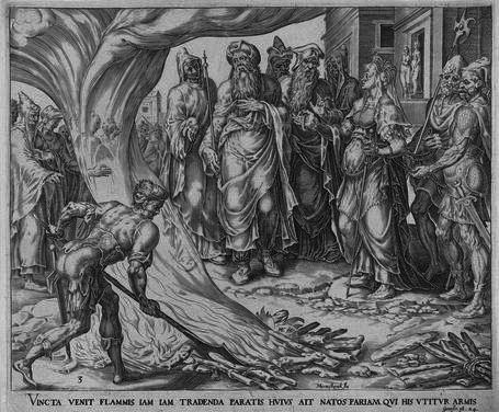 Tamar toont de staf en ring van Juda, Harmen Jansz Muller, 1564 - 1568  gravure