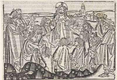 De bergrede, toegeschreven aan Meester van Delft, 1480 - 1500, Houtsnede, Rijksmuseum