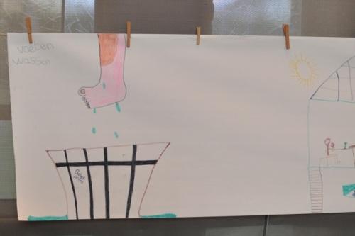 Voetwassing. Detail stripverhaal lijdensweg van Jezus