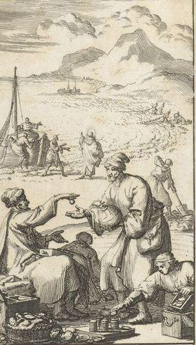 Prent van Jan Luyken. Op het strand koopt een man een parel