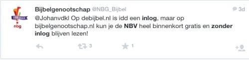 Tweet aan Johanvdkl met aankondiging van Bijbelgenootschap dat NBV binnenkort gratis en zonder inlog te gebruiken is