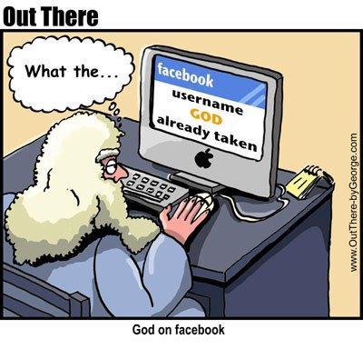 Spotprent. Een oude man met wit haar en lange baard leest op beeldscherm dat de gebruikersnaam God al in gebruik is op Facebook