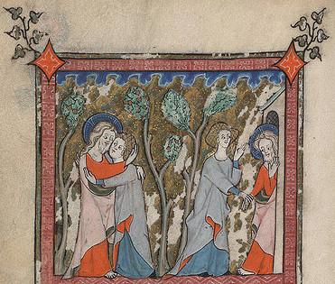 In een tuin omhelzen 2 mensen elkaar en  anderen geven elkaar een hand. Middeleeuws miniatuur Hooglied Rothschild