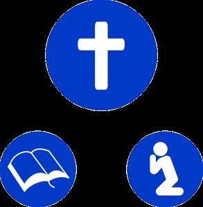 Pictogram kruis, bijbel, bidden