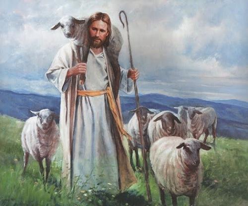 Romantisch schilderij van herder die schaap in zijn nek draagt.