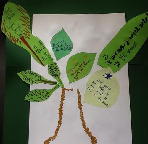 Vel papier met een boom. Er zijn verschillende bladeren met teksten erop. De stam is van mosterdzaad.