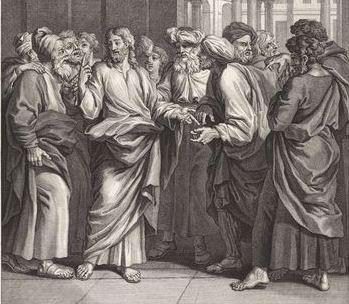 Zwart wit prent met figuren uit de bijbelse tijd : Jezus en de Farizeeen