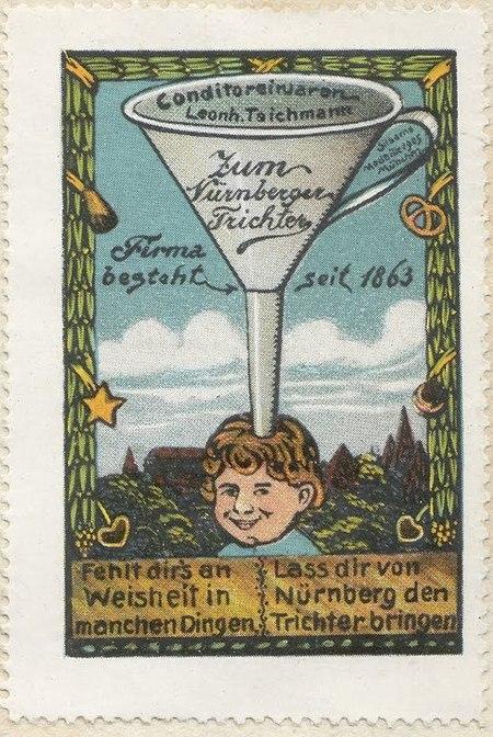 Postzegel met een tekening van een kind. Op het hoofd staat een trechter.