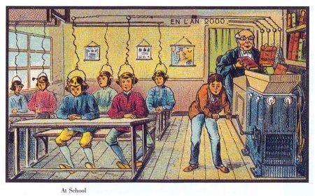 Oude gekleurde plaat met kinderen in schoolbanken. Ze hebben een kap op hun hoofd die verbonden is met een machine. Een leraar draait boeken door die machine.