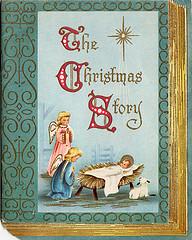 Oude ansichtkaart met wiegje, 2 egeltjes en schaapje. Erboven tekst: the christmas story