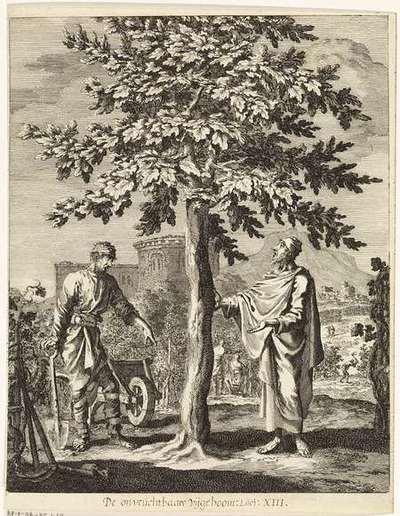 Gelijkenis van de onvruchtbare vijgenboom, Jan Luyken, 1708
