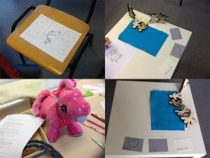 collage foto's met tekening,puzzel,knuffel
