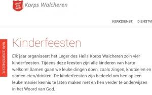 Aankondiging kinderfeest op website Korps Walcheren van het Leger des Heils: een kliederkerk