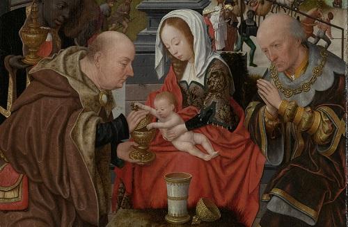 De aanbidding van de koningen, Jan Jansz Mostaert, ca. 1520 - ca. 1525