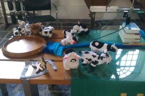 Liturgietafel met koeienknuffels, hoort bij verhaal de dromen van Jozef