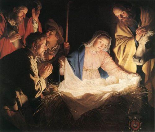 herders en maria rond het kind jezus schilderij gerrit van honthorst