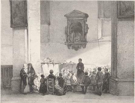 kinderen zitten en staan rond 1 figuur in een kerk