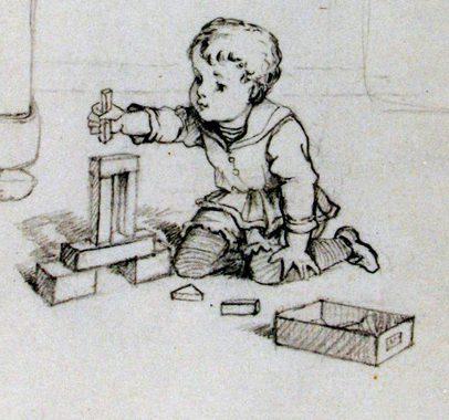 Tekening van een kind dat speelt met blokken.