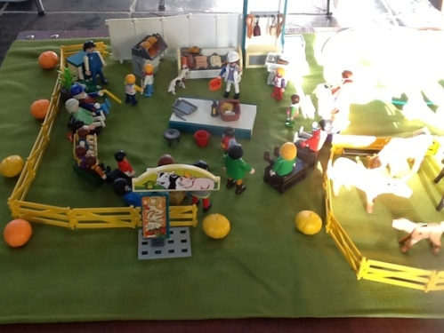 playmobile opstelling een familie barbecuet