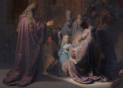Simeon met Jezus in zijn armen in de tempel, geschilderd door Rembrandt van Rijn