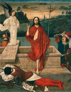 Jezus stapt uit een graf