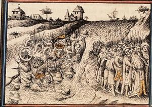 het volk trekt door de Rode Zee, afbeelding uit Middeleeuws handschrift
