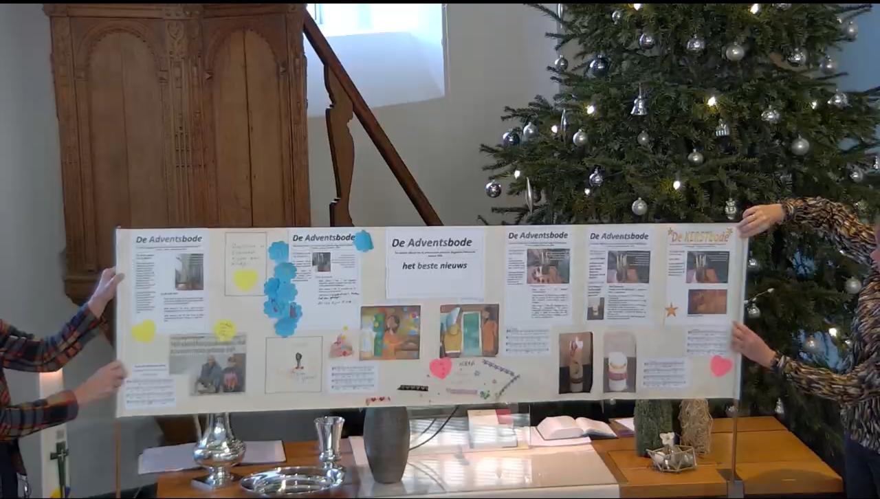 Op een boekrol zijn 4 adventsbodes geplakt plus een kerstbode. Adventsproject 2020